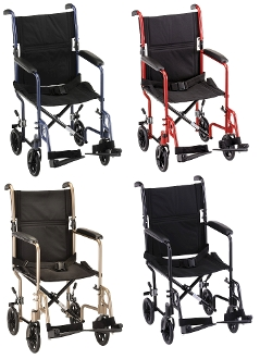 Nova Transport Wheelchair - Lightweight 27 lbs - 300 lbs Wt Cap